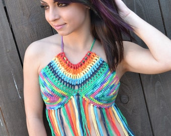 Reversible Rainbow Crochet Halter Top with Fringes - Festival Top - Hippie Top - Bikini Top - Summer Fashion