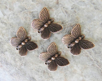 4 Butterfly Charms, Antique Copper Connector, Vintage Look, Beautiful Detail, 12mm x 16mm