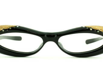 Vintage Rare 50's Readers with Gold Etchings and Rhinestones Eskimo Eyeglasses Frames - FREE Domestic Shipping