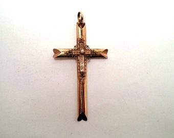 Antique Victorian Gold Filled Cross Pendant Etruscan Style Details