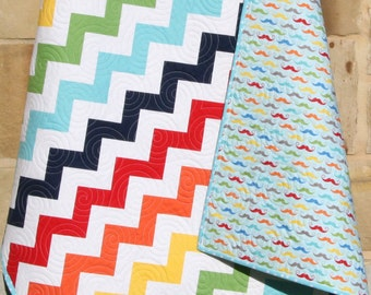 SALE Chevron Baby Quilt Mustache Blue Green Primary Colors Gender Neutral Boy Girl Nursery Bedding Crib Cot Modern Chic Geekly