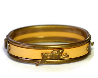 Vintage Small Brass and Bakelite Bunny Rabbit Maiden or Child's Bracelet