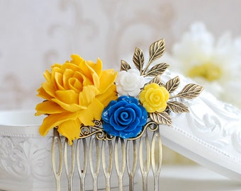 Bridal Hair Comb Yellow and Blue Wedding Hair Accessory Rustic Wedding Headpiece Yellow Blue Flower Leave Branch Headpiece