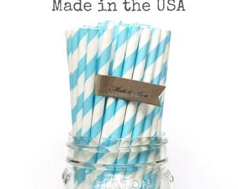 25 aqua Blue Paper Straws Aqua Straws Cake Pop Sticks Cake Pop Sticks Baby Shower Cake Pop Sticks Wedding Shower Party Supplies Made in USA