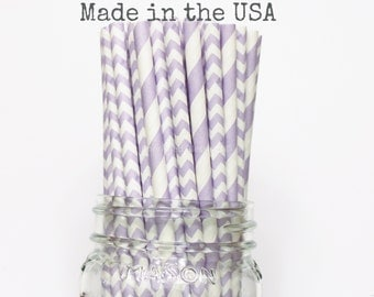 Purple Paper Straws, Lavender Straws, Stripe Chevron, Lilac Vintage Wedding Table Setting, Baby Shower, Kids Birthday Party Supplies, Straws