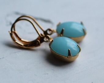 Robin Egg Oval Earrings ... Seafoam Blue Hanging Earrings
