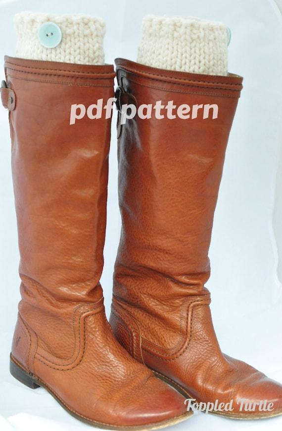 Pattern - Hand Knit Boot Cuff Pattern | Classic Boot Sock Pattern | Knit Leg Warmer Pattern | Button Cuff Pattern | Bulky Boot Cuff Pattern