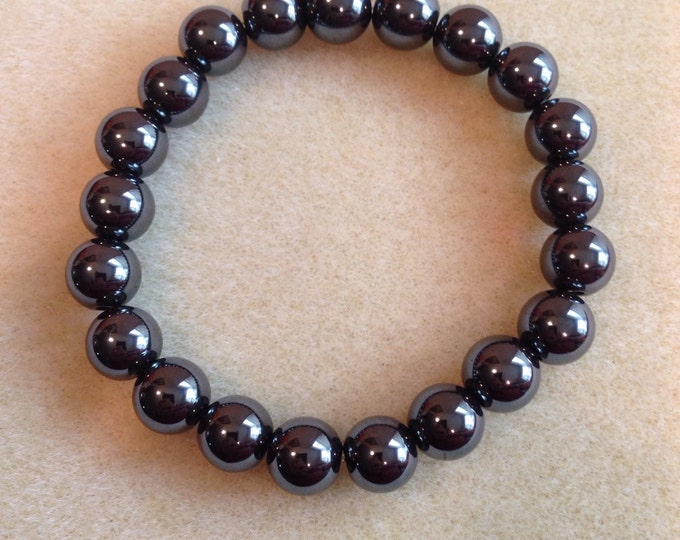 Hematite 10mm Round Stretch Bead Bracelet - For Inflammation, Joint Pain, Grounding and Protection