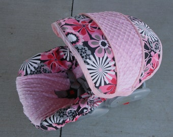 SALE Pink and  Gray floral fabric with light pink minky- Infant car seat cover- Custom Order