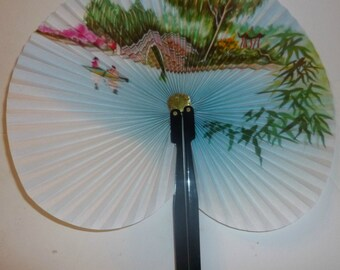 Romance on the Lake Vintage Chinese Travelling Fan, 1960s