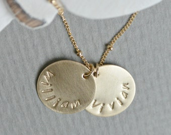 Personalized Mothers Necklace, Names Necklace, Hand Stamped Name Necklace, New Mom 14k GOLD Filled Necklace, Name Pendant, Gifts for Her