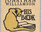 Yellow Cat -  ADHESIVE backed - Personalized Bookplate -Cat Lovers, Books