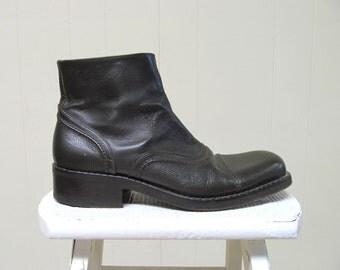 Vintage Mens Boots / Patrick Cox Olive Leather Dress Boots / Size 45 Eur 11.5 US