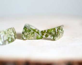resin ring, fern jewelry, flower ring, flower jewelry , geometric jewelry, eco resin, resin jewelry, gift under 40