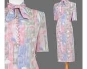 70s Dress, Pink Grey Blue Abstract Leaf Print Dress, Ascot Bow Collar Secretary 1970s Dress, Spring Summer Midi Dress