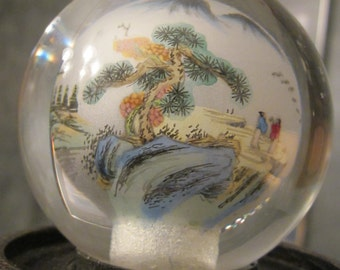 Reverse Glass Artwork - Chinese Inner Painting - Landscape Hand Painted Inside Crystal Ball on Wood Display Stand