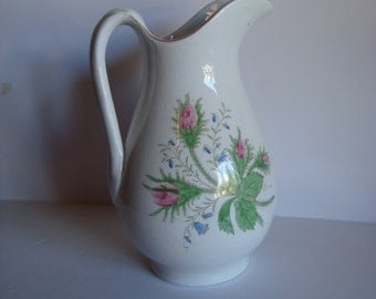 Antique Knowles, Taylor & Knowles Hand Painted Moss Rose and Bluebells Pitcher