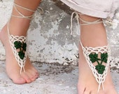 PICK YOUR COLOR. Barefoot sandals, Crochet Green Ecru, wedding barefoot sandles, sexy, yoga, anklet, sandals, beach pool, gift ideas for her