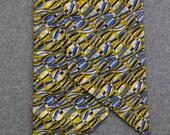 1970s Navy, Blue and Yellow Print Sash