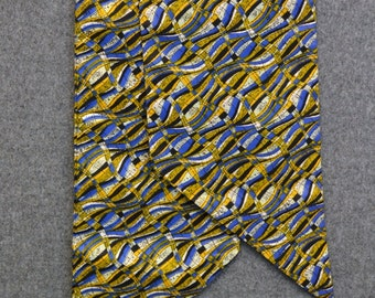 1970s Navy, Blue and Yellow Print Sash
