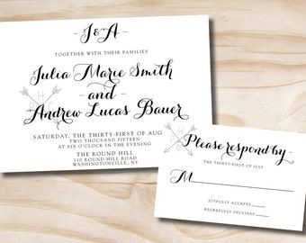Initial Calligraphy Wedding Invitation and Response Card - Printable Invitation and Response Card