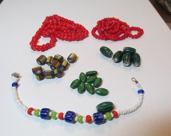 Sale Vintage Trade Beads Chevrons Watermelon White Hearts Lot