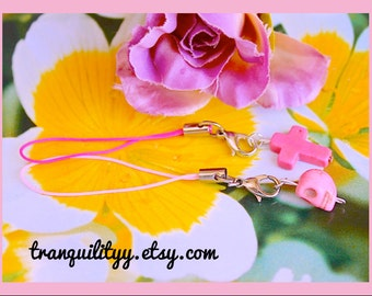 Phone Charm Set , Cross and Skull Pink Phone Charm, Zipper, Purse, Dangles , Birthday Gift, By: Tranquilityy