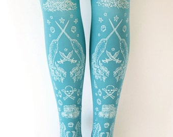 S M Narwhal Printed Tights Pastel White on Deep Duck Egg Blue Antique Small Medium Nautical Lolita Fairy Kei