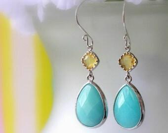 Aqua Blue Jade Earrings, Dangle Earrings, Drop Earrings, Chandelier Earrings, Gemstone Earring, Bridal Jewelry, Modern, Easter Earrings Gift