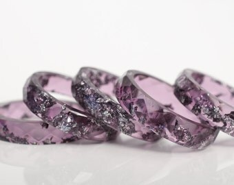 size 7 | thin multifaceted stacking ring | amethyst purple eco resin with metallic silver leaf flakes
