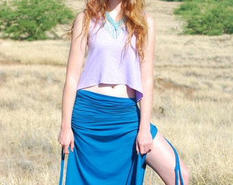 Eco Friendly Maxi Skirt with Side Slits - Adjustable Ruched Side Ties - Organic Clothing