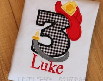 Boys Firefighter Birthday Shirt, Long or Short sleeve