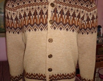1950's Men's WHITE RAM Nordic Ski Cardigan Sweater College Coin Buttons Varsity Collegiate  Atomic Teen Heart-Throb  Rockabilly Hipster VlV