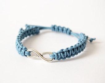Infinity light blue braided bracelet macramè
