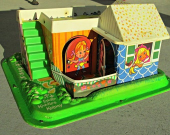 Vintage Liddle Kiddles Kolony - Mattel Dolls Playhouse - 1967 - Big Eye 60s Dollhouse