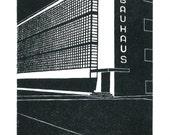 Bauhaus, Dessau, Germany -  Handprinted / Hand pulled Linocut - Edition of 250