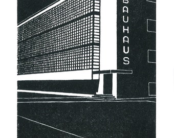 Bauhaus, Dessau, Germany -  Handprinted / Hand pulled Linocut - Edition of 250