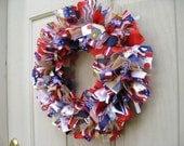 4th of July Wreath, Patriotic Wreath, Patriotic Decor, Red White Blue Wreath, Military Decor, Fabric Ribbon Wreath, Fourth of July Wreath