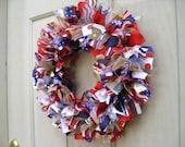 4th of July Wreath, Patriotic Wreath, Patriotic Decor, Red White Blue Wreath, Military Decor, Fabric Ribbon Wreath, Fourth of July Wreath