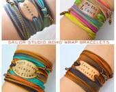 DESIGN your OWN, Boho Silk Wrap Bracelet- Custom quote bracelet, custom wrap bracelets, Sailor Studio, boho jewelry, bohemian gift