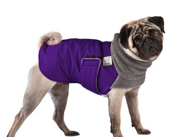 PUG Winter Dog Coat, Winter Coat, Dog Clothing, Pug Clothes, Pug Clothing, Waterproof Coat, Dog Winter Jacket, Small Dog Coat, Fleece Snood
