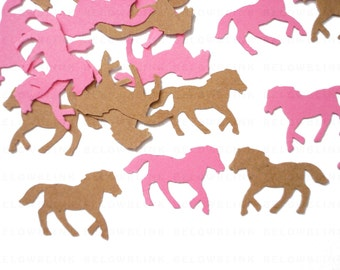 50 Kraft Brown and Pink Horse Confetti, Kentucky Derby Party Picks, Cowgirl Party Decorations - No1048