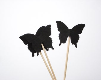 24 Black Butterflies Party Picks, Cupcake Toppers, Food Picks, Toothpicks - No1060