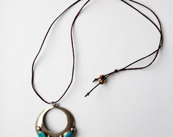 1970s turquoise pendant necklace, vintage southwest jewelry