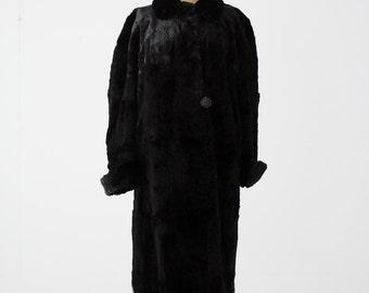 1930s fur coat, black full length fur