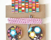 Art Hanging Kit ~ Art Display Kit ~ Mini Clothespins ~ Ribbon ~ Bright GIrly Florals and Stripes