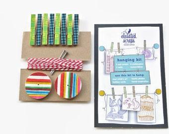 Art Hanging Kit ~ Art Display Kit ~ Mini Clothespins ~ Ribbon ~ Greens, Blues and Reds