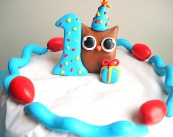 Boys First Birthday Owl Birthday Cake Topper Blue 1st Birthday Cake Topper