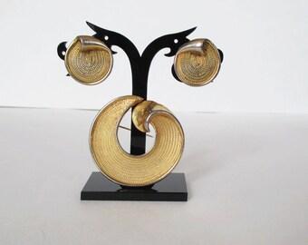Vintage BSK Pin Brooch and Earring Set Swirl Rope Design