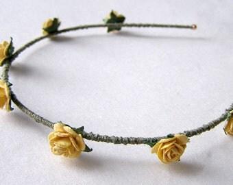 Mustard Yellow Rose Headband